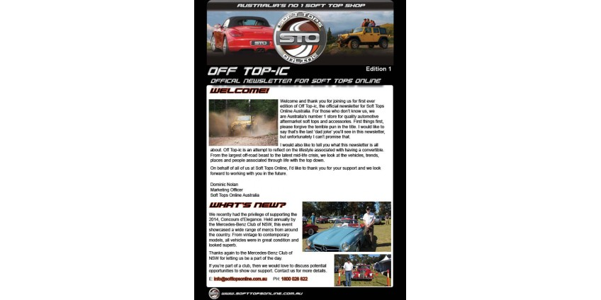 Introducing the Soft Tops Online Newsletter