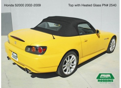 Honda S2000 2002-2009 Convertible Top, Black Twill Grain Vinyl, Heated Glass Window