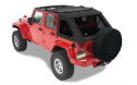 Jeep Wrangler Soft Top:  2007-15 Wrangler JK (Four Door) Trektop NX Black Twill w/Tinted Side and Rear Windows