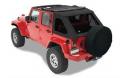 Jeep Wrangler Soft Top:  2007-15 Wrangler JK (Four Door) Trektop NX Black Twill w/Tinted Side and Rear Windows